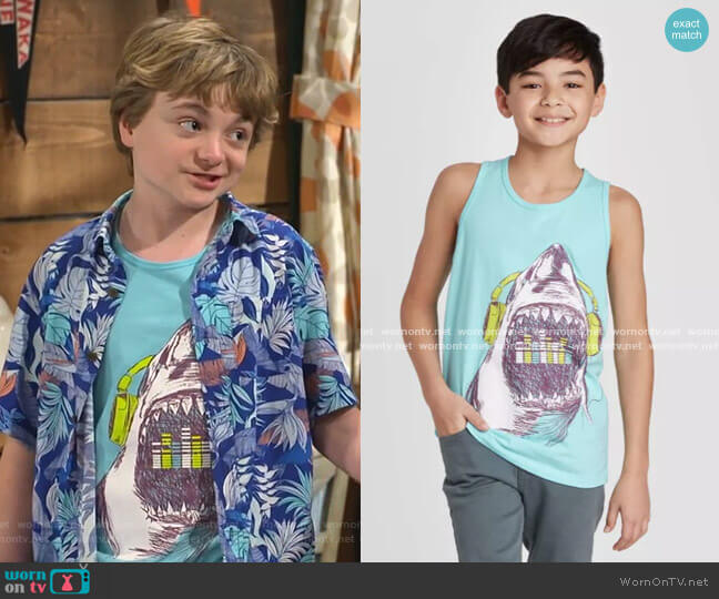 Shark Graphic Tank Top by Cat & Jack worn by Finn Sawyer (Will Buie Jr) on Bunkd