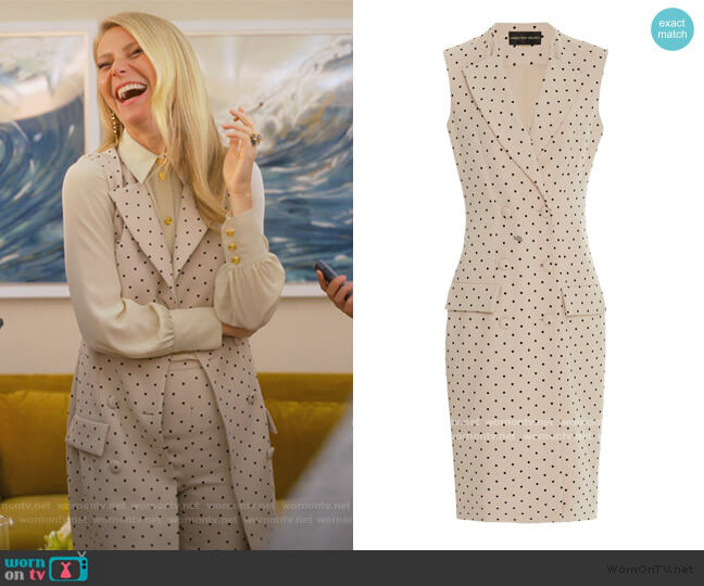 Polka Dot Double Breasted Vest by Christian Sirano worn by Georgina Hobart (Gwyneth Paltrow) on The Politician