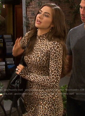 Ciara's leopard print mock neck mini dress on Days of our Lives