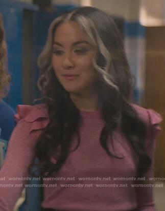 Cindy's red ruffle neck puff sweater on Stargirl
