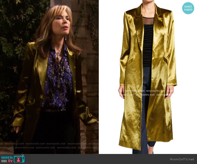 Vicky Satin Long Coat by Cinq a Sept worn by Kate Roberts (Lauren Koslow) on Days of our Lives