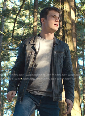 Clay's leather collared zip jacket on 13 Reasons Why