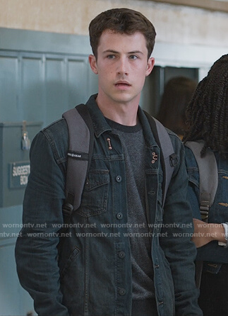 Clay's black denim jacket on 13 Reasons Why