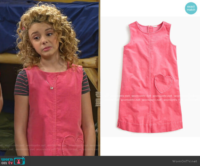 Corduroy Dress with Heart Pocket by J. Crew worn by Destiny Baker (Mallory James Mahoney) on Bunkd