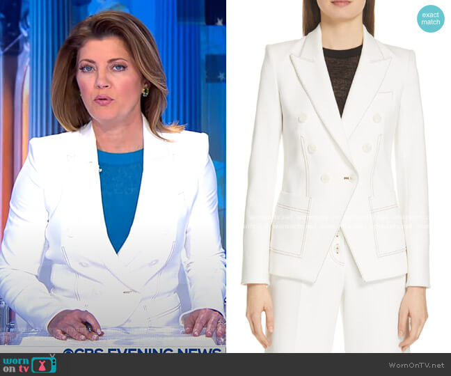 Cosmo Dickey Jacket by Veronica Beard worn by Norah O'Donnell  on CBS Evening News
