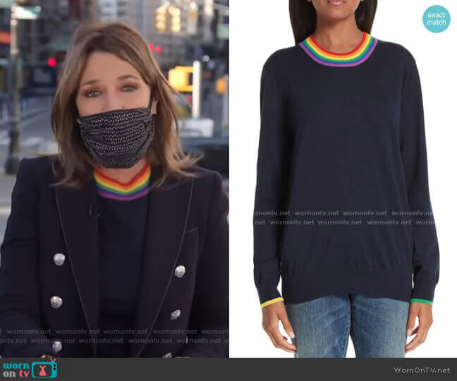 Dales Rainbow Trim Merino Wool Sweater by Burberry worn by Savannah Guthrie  on Today