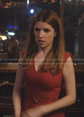 Darby's red v-neck belted dress on Love Life