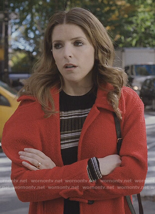 Darby's red wool coat on Love Life