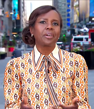 Deborah's chain print tie neck blouse on Good Morning America