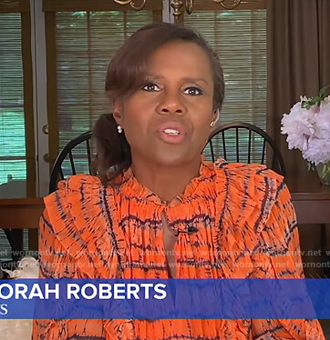 Deborah's orange striped ruffle dress on Good Morning America