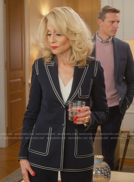 Dede's navy contrast stitch blazer on The Politician