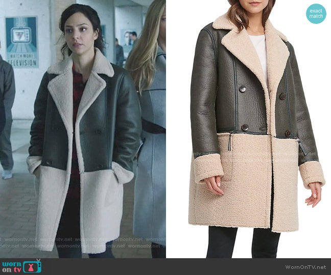 Double-Breasted Faux Shearling Peacoat by DKNY worn by Zari Tomaz (Tala Ashe) on Legends of Tomorrow