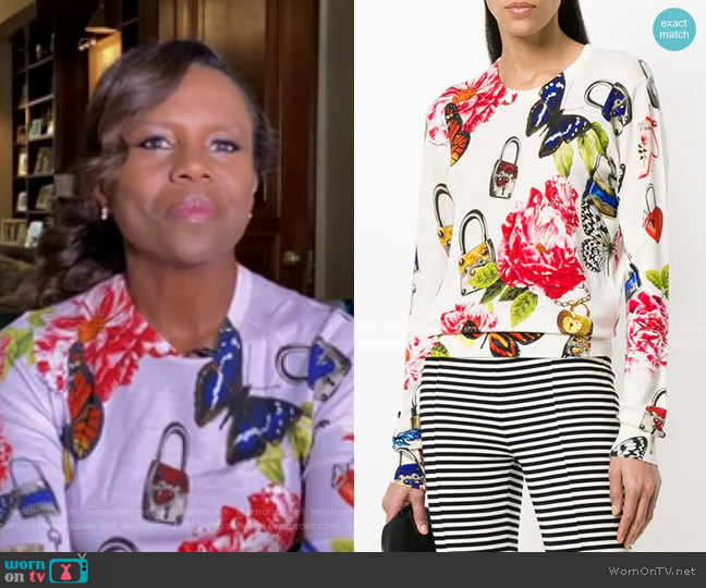 Floral Print Sweater by Dolce & Gabbana worn by Deborah Roberts  on Good Morning America
