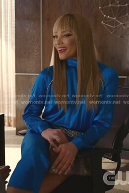 Dominique's blue embellished mock neck dress on Dynasty