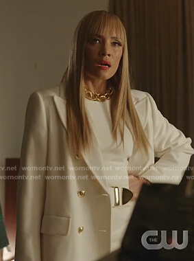 Dominique's white coat with gold buttons on Dynasty