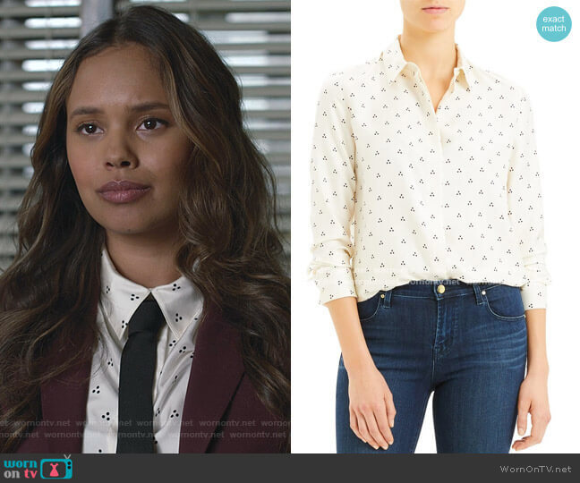 Dot Triangle Silk Shirt by Theory worn by Jessica Davis (Alisha Boe) on 13 Reasons Why
