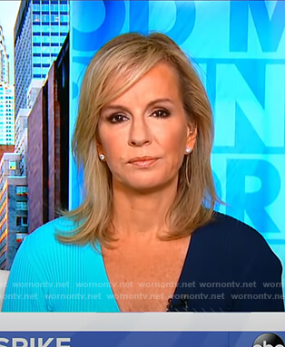 Dr. Jennifer Ashton's blue colorblock ribbed dress on Good Morning America