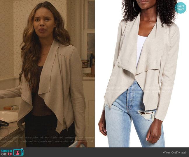 Drape Front Faux Suede Jacket in Instigator by BlankNYC worn by Jessica Davis (Alisha Boe) on 13 Reasons Why