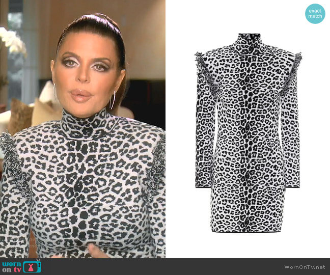 Leopard-Print Wool and Cashmere Dress by Dundas worn by Lisa Rinna  on The Real Housewives of Beverly Hills