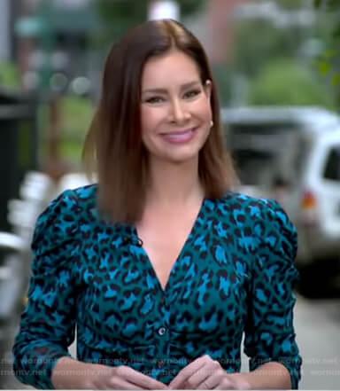 Rebecca's blue leopard print v-neck top on Good Morning America