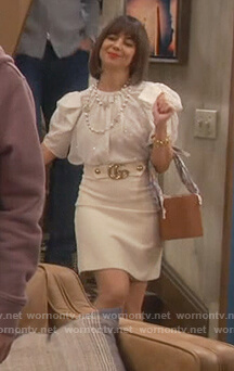 Elizabeth's white Gucci belted skirt on Broke