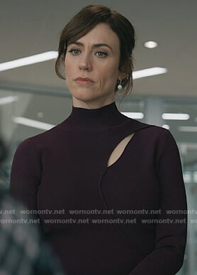 Wendy's burgundy cutout sweater on Billions