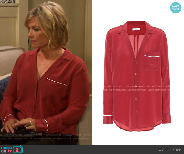 Keira Silk Pajama Shirt by Equipment worn by Kayla Brady (Mary Beth Evans) on Days of our Lives