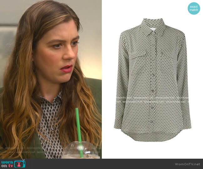 Geometric Print Shirt by Equipment worn by McAfee (Laura Dreyfuss) on The Politician