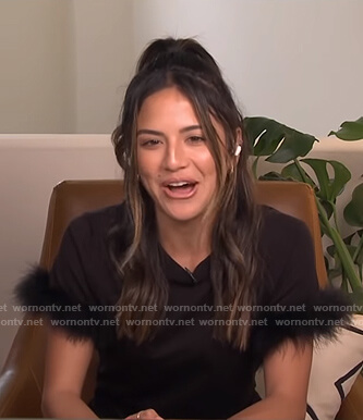 Erin's black fur-trim tee on E! News Daily Pop