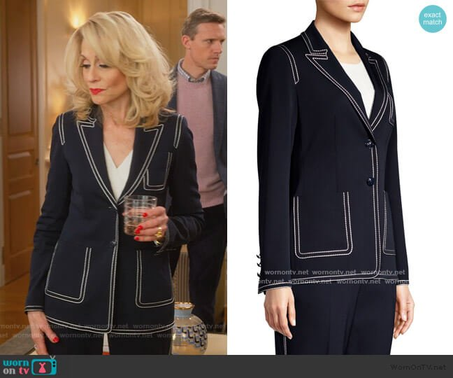 Begastut Embroidered Trim Two-Button Blazer by Escada worn by Dede Standish (Judith Light) on The Politician