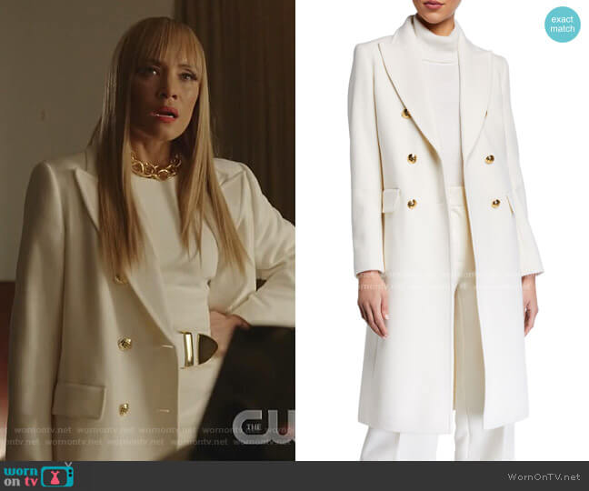 Malone Double-Breasted Wool Long Overcoat by Escada worn by Dominique Deveraux (Michael Michele) on Dynasty