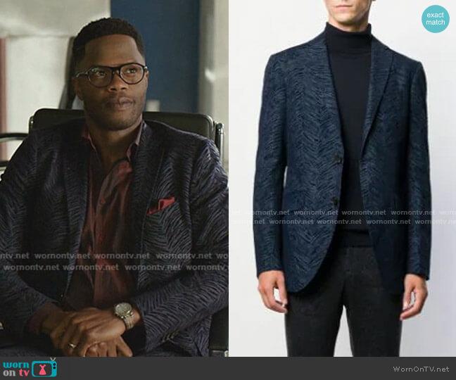 Chevron Jacket by Etro worn by Jeff Colby (Sam Adegoke) on Dynasty