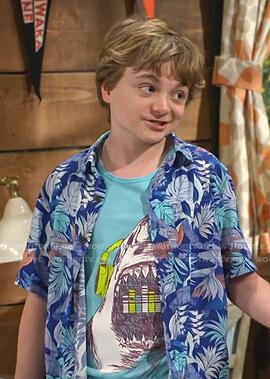 Finn's shark print tank and blue tropical print shirt on Bunkd