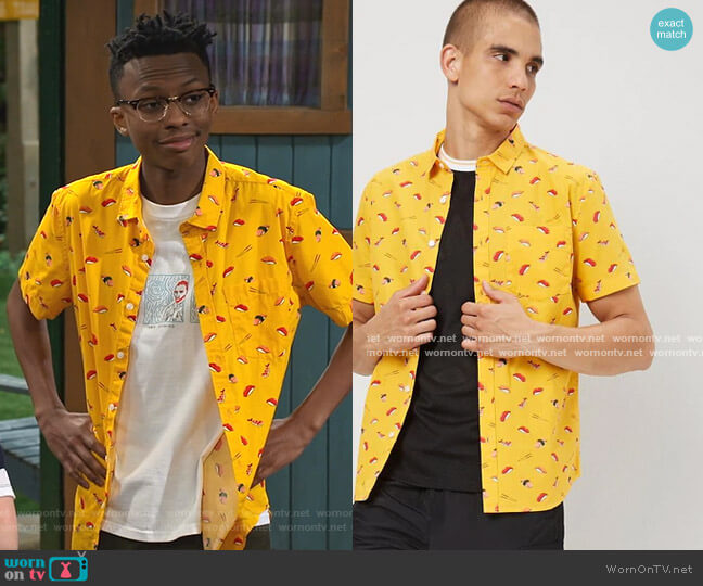 Classic Fit Sushi Shirt by Forever 21 worn by Noah Lambert (Israel Johnson) on Bunkd