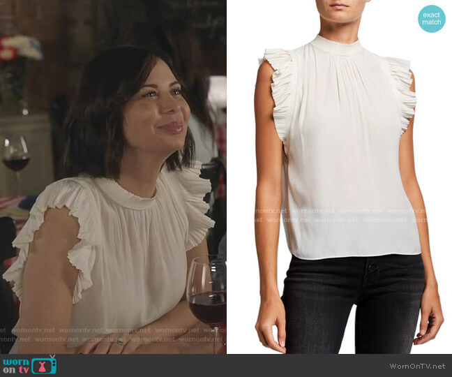 Pleated Ruffle-Trim Sleeveless Top by Frame worn by Cassandra Nightingale (Catherine Bell) on Good Witch