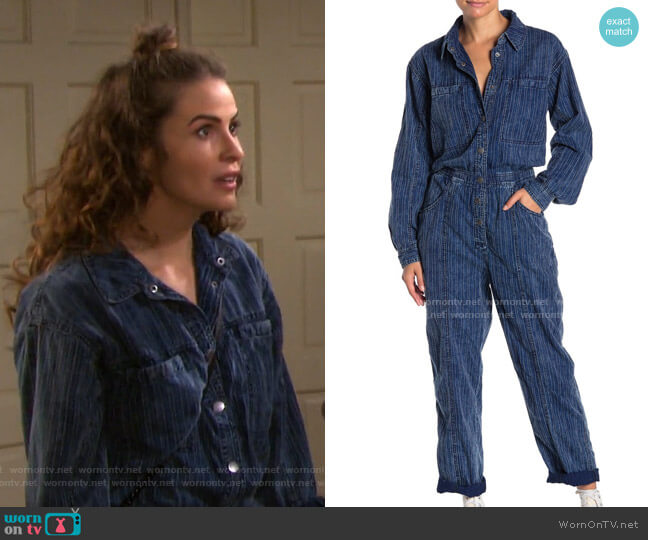 Ari Coveralls by Free People worn by Sarah Horton (Linsey Godfrey) on Days of our Lives