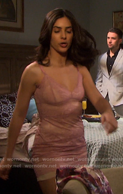 Gabi's pink floral lace slip on Days of our Lives