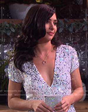 Gabi's sequin v-neck jumpsuit on Days of our Lives