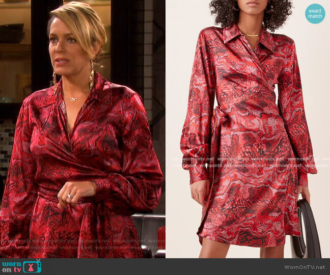 Printed Silk-Satin Wrap Dress by Ganni worn by Nicole Walker (Arianne Zucker) on Days of our Lives