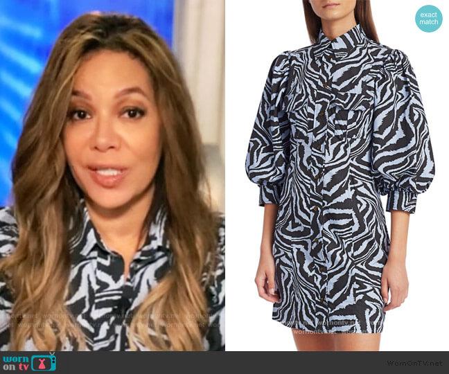 Puff-Sleeve Zebra Mini Shirtdress by Ganni worn by Sunny Hostin  on The View