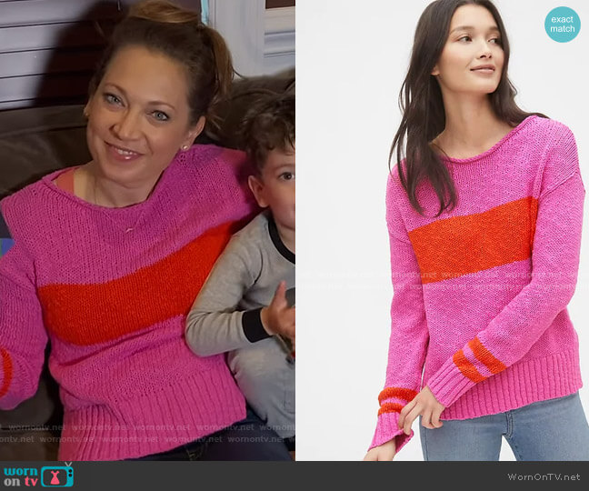 Crewneck Pullover Sweater by Gap worn by Ginger Zee  on Good Morning America
