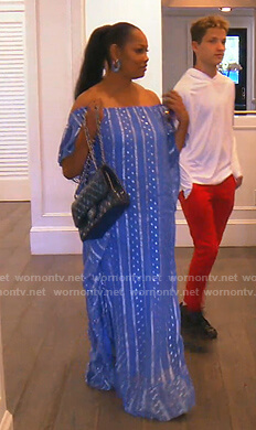 Garcelle's blue metallic print maxi dress on The Real Housewives of Beverly Hills