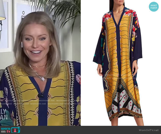Garden of Eden Silk Caftan by Etro worn by Kelly Ripa  on Live with Kelly & Ryan