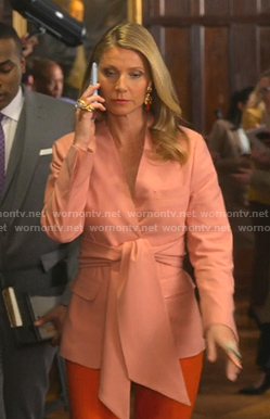 Georgina's pink belted wrap blazer on The Politician