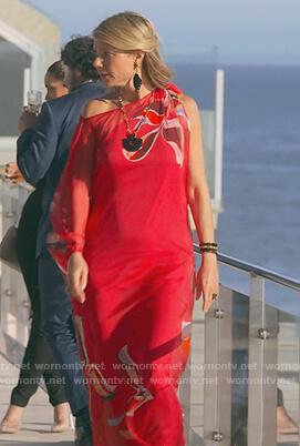 Georgina's red floral maxi kaftan dress