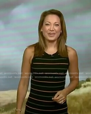 Ginger's black striped sleeveless dress on Good Morning America