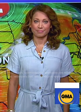 Ginger's light blue chambray shirtdress on Good Morning America