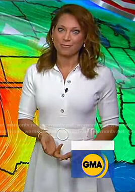 Ginger's white belted polo dress on Good Morning America
