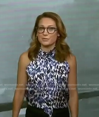 Ginger's leopard print tie neck top on Good Morning America