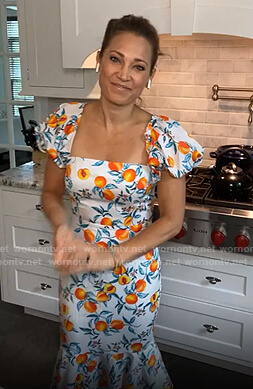 Ginger's white peach print puff sleeve dress on Good Morning America